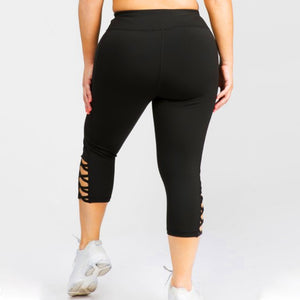 Black Plus Size Cross Me Pocket Capri