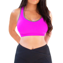 Load image into Gallery viewer, Fuchsia Cut Out Racerback Large Bust Sports Bra