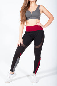 Burgundy Red Speedway Club Mesh Leggings