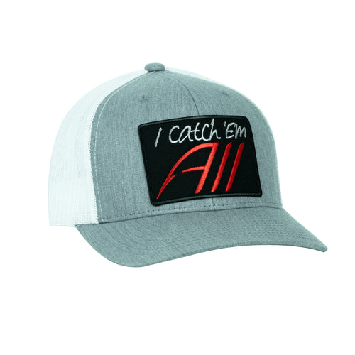 I Catch Em All SnapBack Hat - Heather Gray/White