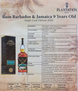 Plantation Rum Barbados & Jamaica DE 9 Years old single cask 2020 0,7l 53% vol. Fassabfüllung Sonderedition stark limitiert