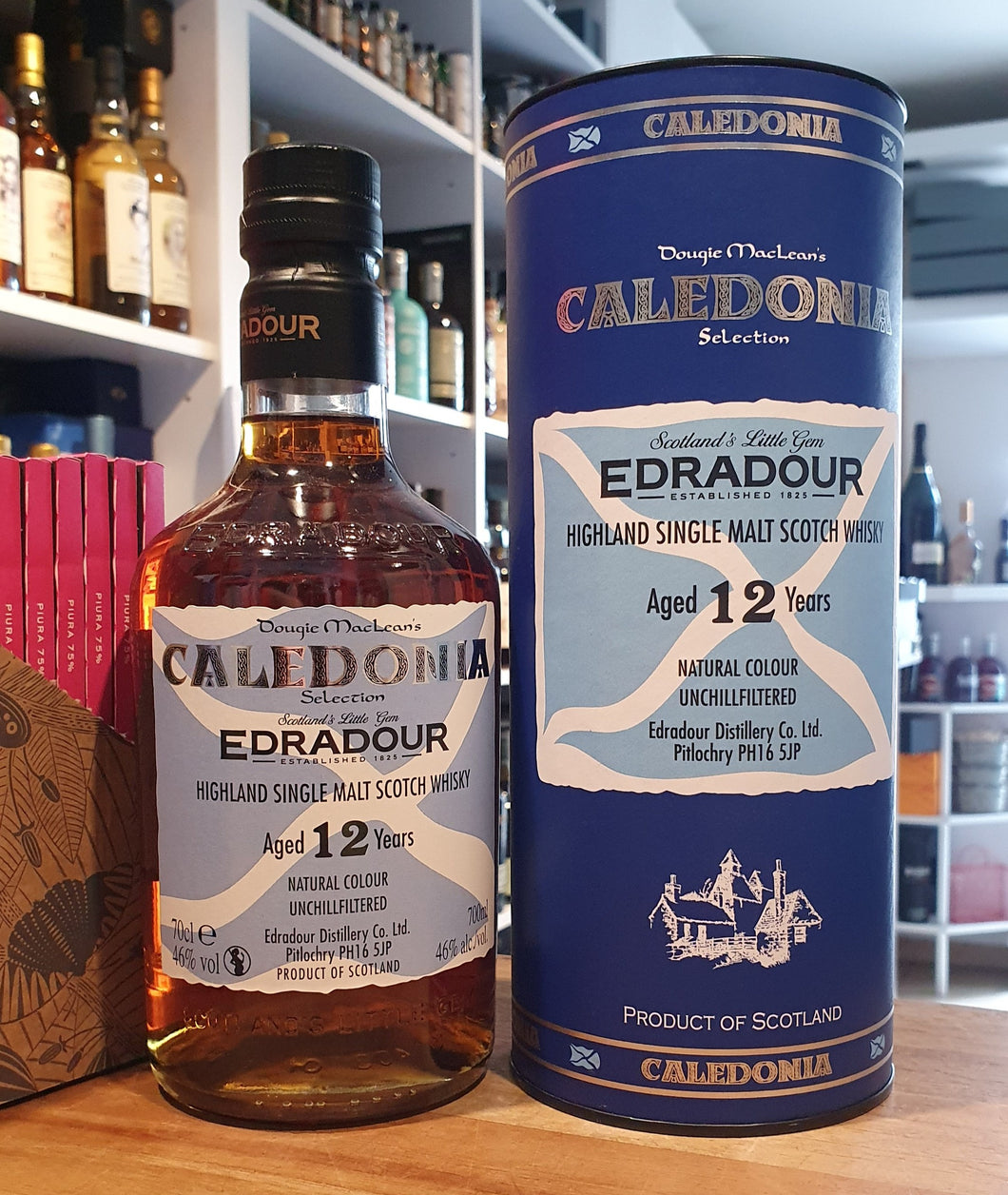 Edradour 12 Selection Caledonia Highland single malt scotch whisky 0,7l Fl 46%vol. Dougie Macleans unchillfiltered ,natural Color in Geschenkdose