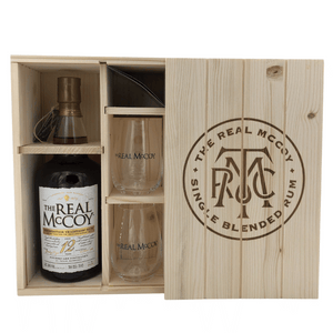 The Real McCoy - 12 Years 100 Proof 100th Anniversary 50 % 0,7 L Sonderedition Barbados Foursquare 2020 Anlässlich 100th Prohibition in Holz kiste mit 2 Gläsern