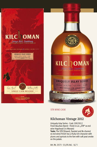 Kilchoman Whisky an Geamhradh cask Edition Uniquely Islay Series 2020 Vintage 2012 199 str ex red wine cask single cask scotch whisky 0.7l 53,5 % Fassstärke