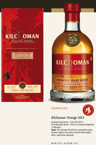 Kilchoman Whisky an Geamhradh cask Edition Uniquely Islay Series 2020 Vintage 2013 205 Calvados single cask scotch whisky 0.7l 56,7 % Fassstärke