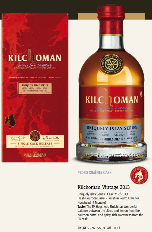 Kilchoman Whisky an Geamhradh cask Edition Uniquely Islay Series 2020 Vintage 2013 212 Pedro Ximenez sherry cask 100 % islay single cask scotch whisky 0,7l 56,3 % Fassstärke