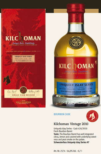Kilchoman Whisky an Geamhradh cask Edition Uniquely Islay Series 2020 Vintage 2010 426 Bourbon cask single cask scotch whisky 0.7l 56 % Fassstärke
