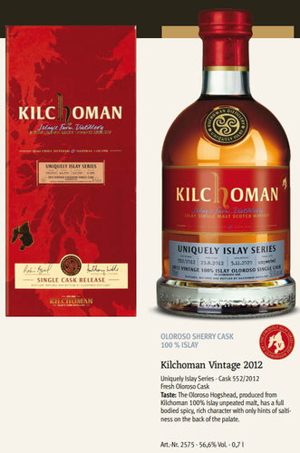 Kilchoman Whisky an Geamhradh cask Edition Uniquely Islay Series 2020 Vintage 2012 552 Oloroso sherry cask 100 % islay single cask scotch whisky 0.7l 56,6 % Fassstärke
