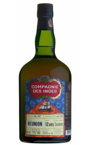 Compagnie des Indes cdi Reunion 12 Jahre Savanna Distillery Single Cask Rum 61,6% vol. 0,7l Cask strength Fassabfüllung Sonderedition limitiert auf ein Fass.