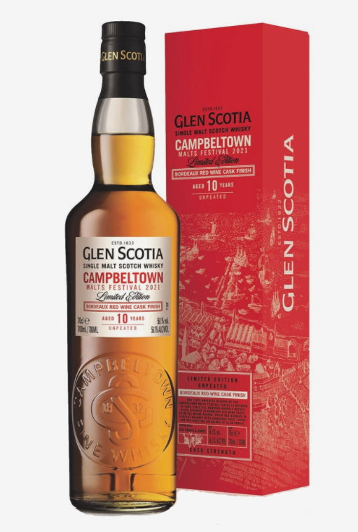 Glen scotia single malt scotch whisky festival 2021 Edition 10 Jahre 0,7l 56,1% vol. Schottland limitiert zum Whisky Festival 2021 Campbeltown Bordeaux cask finish 10 Jahre. Anlässlich dem Campbeltown Malts Festival presented by Glen Scotia Distillery.  Limitiert auf 6000 Flaschen.