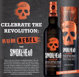 Smokehead  Whisky Islay single malt Rebel Edition Rum fass gelagert 0,7l  48% OHNE DOSE !
