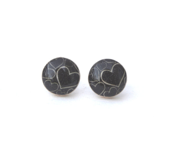 Black Heart Stud Earrings • Valentines Day Gift for her • Gift for Girlfriend