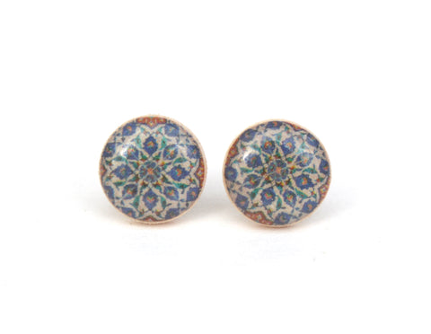 Tiny Blue pattern stud earrings