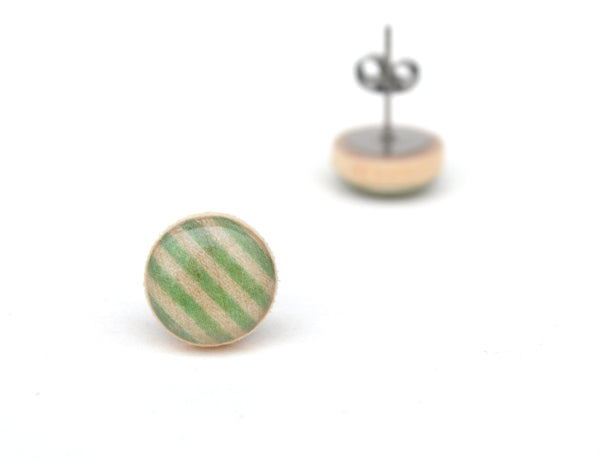 Green Stripe Wood Stud Earrings 12mm (1/2 inch)