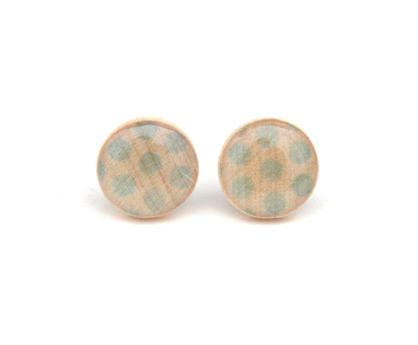 Light Blue Polka Dot Stud Earrings 12mm (1/2 inch)