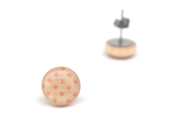 Orange polka dot Stud Earrings 12mm (1/2 inch)