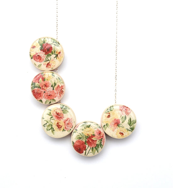Spring statement necklace Floral bubble necklace by Starlight Woods