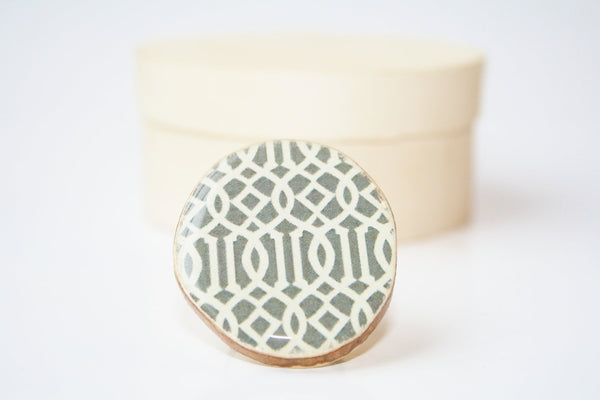 Cocktail Ring spring jewelry cocktail ring  eco fashion wood ring  grey geometric Chunky ring Minimalist jewelry  eco friendly eco fashion