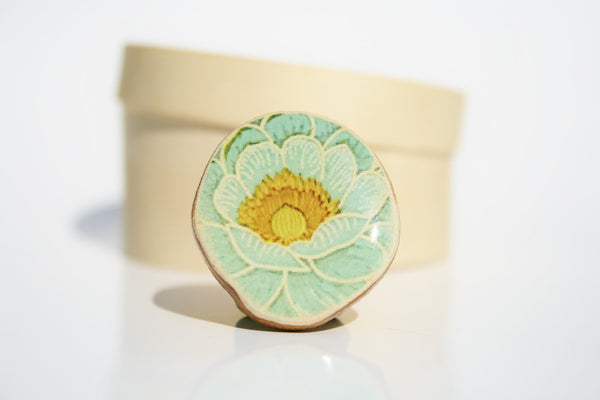 Cocktail Ring blue vintage floral statement ring wood jewelry nature floral jewelry delicate jewelry for her eco friendly nature gift