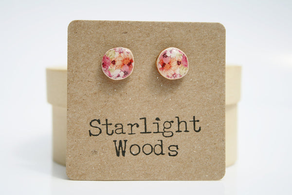 Floral Studs wood Earrings  Summer fashion post earrings minimalist jewelry gift for her nature gift eco-friendly