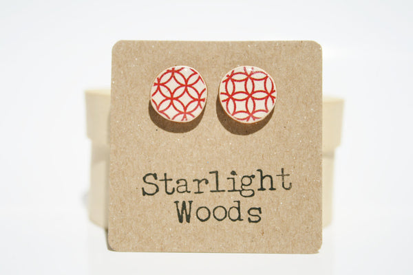 Red pattern studs earrings summer jewelry minimalisti jewelry eco fashion eco-friendly unique gift for her
