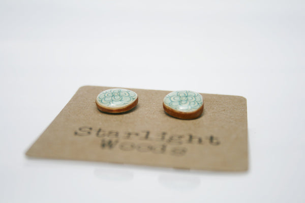 Blue flower studs earrings wood earrings minimalisti jewelry eco fashion eco friendly unique gift for her