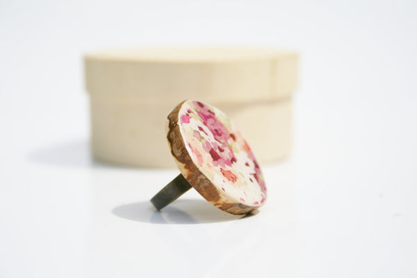 Cocktail Ring watercolor floral wood ring nature inspired jewelry floral jewelry delicate jewelry for her eco friendly nature gift