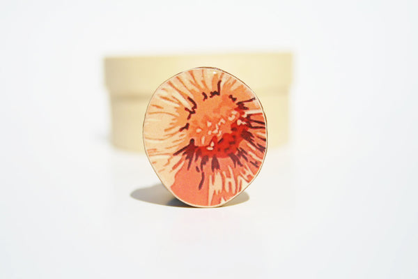 Cocktail Ring Tangerine tango floral wood ring wood jewelry fall fashion nature inspired jewelry for her eco friendly nature gift