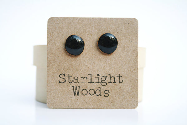 Black studs post earrings wood earrings minimalist jewelry eco fashion eco friendly unique gift for her
