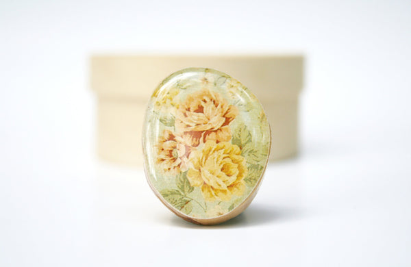 Cocktail Ring vintage floral rose wood ring wood jewelry floral shabby chic jewelry nature inspired for her eco friendly gift under 25