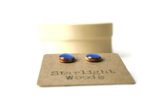Periwinkle studs post earrings wood earrings minimalist jewelry eco mothers day eco friendly recycled for her