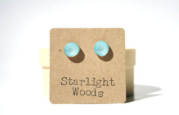 Aquarium blue studs post earrings wood earrings minimalist jewelry eco fashion eco friendly unique gift for her