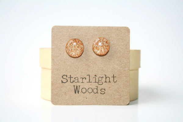 Chamagne sparkle studs post earrings blush sparkle autumn resin jewelry eco fashion wood earrings Minimalist jewelry  eco friendly