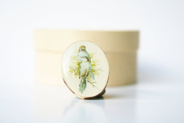 Cocktail Ring vintage birds wood ring wood  jewelry shabby chic jewelry nature inspired jewelry for her eco friendly nature gift
