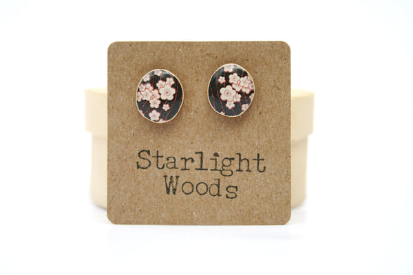 Black floral studs earrings black studs summer fall wood jewelry stud earrings nature inspired jewelry  eco friendly