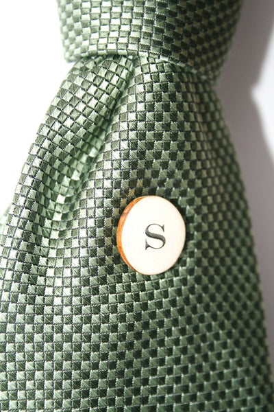 Monogrammed Tie pin , men's tie tack , personalized wood tie pin , brooch , eco friendly accessory , menswear ,gift for him , gift for dad
