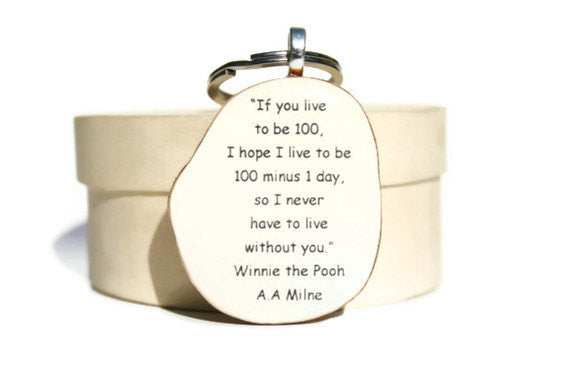 Inspirational key chain gift for her gift for him winnie the pooh quote love key chain key charm nature gift eco friendly