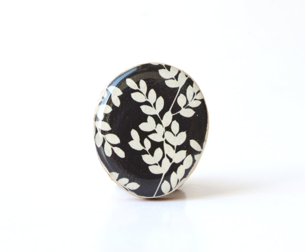 Black and White leaf Cocktail Ring black and white wood jewelry bridesmaid gift Starlight Woods wood ring modern jewelry eco friendly