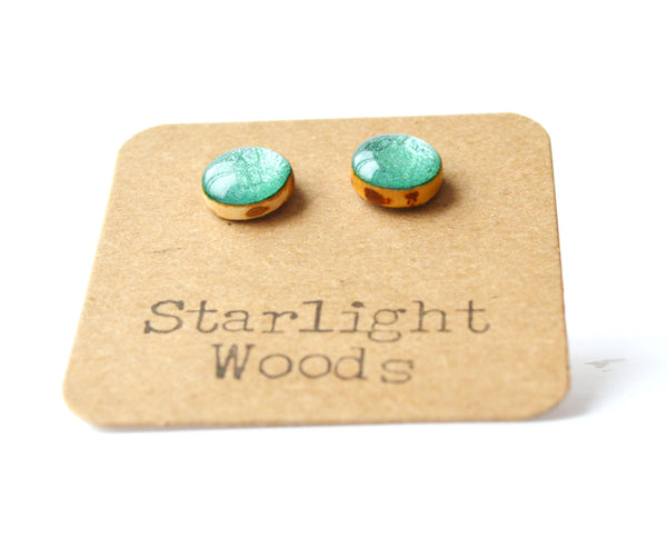 Emerald green metallic studs post earrings wood earrings emerald jewelry eco fashion eco friendly unique gift for her