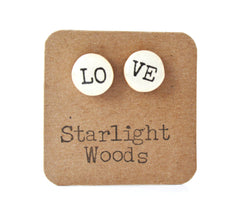 Love studs post earrings wood earrings valentines day eco fashion eco friendly unique gift for her