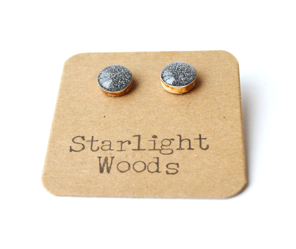 Charcoal grey sparkle studs post earrings sparkle jewelry eco fashion wood earrings Minimalist jewelry  eco friendly eco fashion