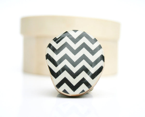 Chevron Ring Black and white eco friendly jewelry adjustable cocktail ring wood jewelry geometric resin Minimalist jewelry starlight woods