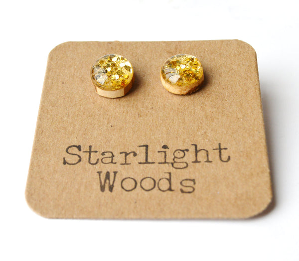Gold glitter studs post earrings wood earrings minimalist jewelry eco fashion eco friendly unique gift for her