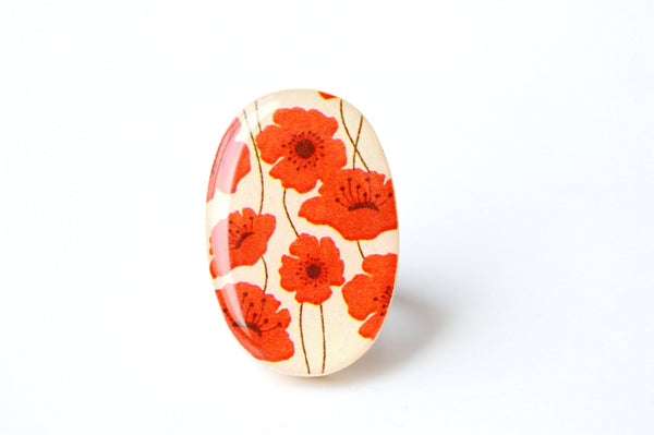 Red poppy statement Ring, cocktail ring,  summer jewelry, bridesmaid gift, Starlight Woods, wood ring, floral jewelry, eco friendly