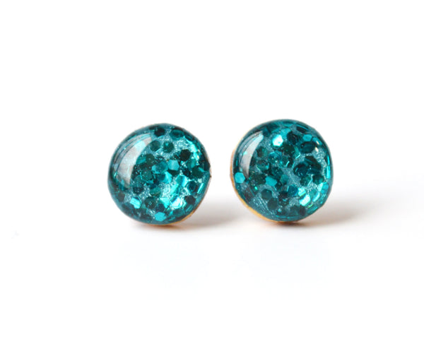 Blue Topaz glitter stud earrings, blue glitter post earrings, teal jewelry wood earrings, minimalist jewelry, eco friendly