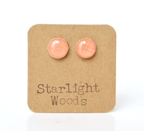 Coral stud earrings  spring studs eco friendly jewelry spring jewelry mothers day reclaimed wood jewelry post earrings starlight woods