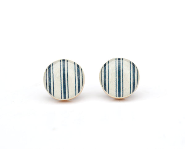 Blue stripe Studs wood Earrings patriotic nautical post earrings minimalist jewelry gift for her nature gift eco-friendly
