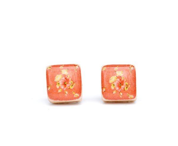 Coral floral square studs post earrings wood earrings minimalist jewelry eco fashion eco friendly unique gift for her