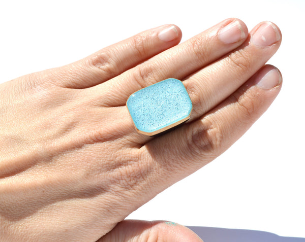 Ice blue wood Cocktail Ring statement ring eco friendly jewelry bridesmaid gift  Starlight Woods wood ring eco friendly