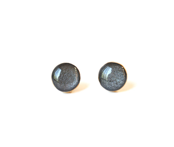 charcoal grey metallic studs post earrings eco friendly jewelry wood earrings minimalist jewelry eco fashion for her